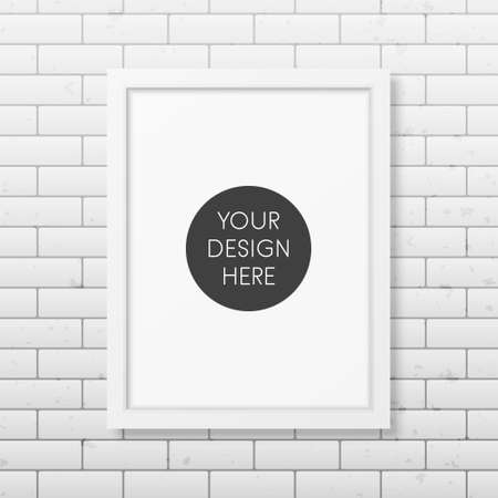 Realistic white frame A4 on the brick wall background. It can be used for presentations