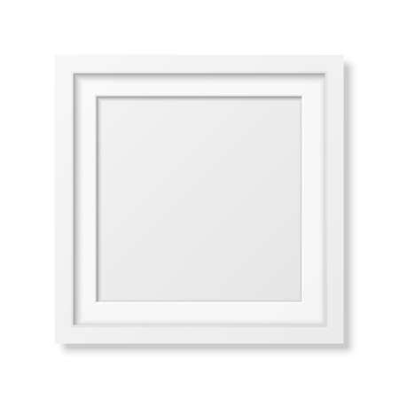 Realistic square white frame isolated on white. It can be used for presentations