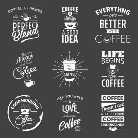 coffee cup: Set of vintage wine typographic quotes. Grunge effect can be edited or removed. Vector EPS10 illustration.