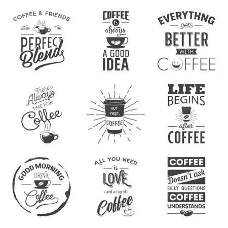 drinking coffee: Conjunto de cotizaciones tipogr�ficas de vino de la vendimia. Grunge efecto puede ser editado o eliminado. Ilustraci�n vectorial EPS10.