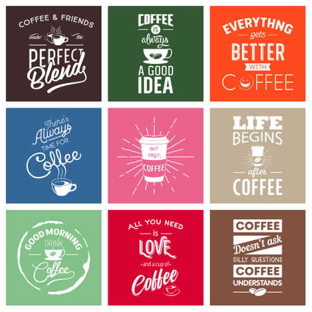 drinking coffee: Set of vintage wine typographic quotes. Vector EPS8 illustration.
