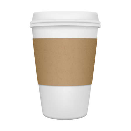 drinking coffee: Realistic paper coffee cup iIsolated. Vector EPS10 illustration. Illustration