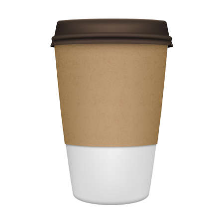 black coffee: Realistic paper coffee cup iIsolated. Vector EPS10 illustration. Illustration