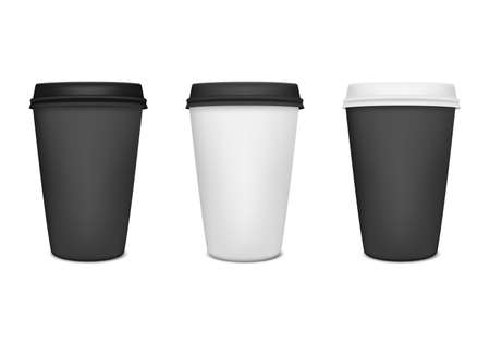 black coffee: Realistic paper coffee cup set. Vector illustration. Illustration