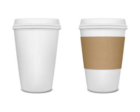 sleeve: Realistic paper coffee cup set. Vector EPS10 illustration.