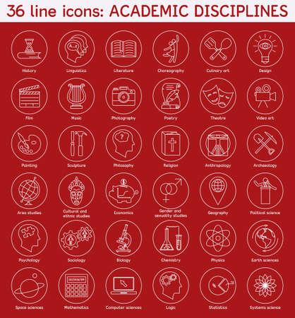 disciplines: Set van academische disciplines iconen. Vector EPS8 illustratie. Stock Illustratie