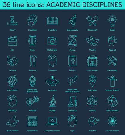 disciplines: Set of academic disciplines icons. Vector EPS8 illustration.