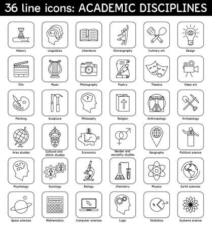 Set of academic disciplines icons