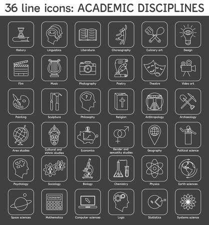 disciplines: Set of academic disciplines icons.