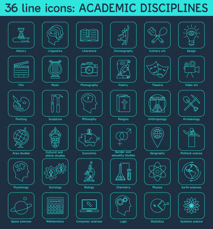 social history: Set of academic disciplines icons.