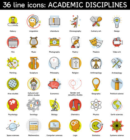 philosophy of logic: Set of academic disciplines icons. Vector illustration. Illustration
