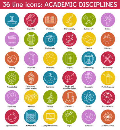 academic symbol: Set of academic disciplines icons. Vector illustration. Illustration