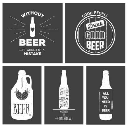 brewer: Vintage craft beer brewery emblems, labels and design elements. Vector typography EPS8 illustrations with grunge effect. Illustration