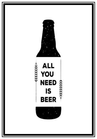 brewer: All you need is beer - Quote Typographical Background. Vintage craft beer brewery emblem, label, design element. Vector typography EPS8 illustration with grunge effect. Illustration