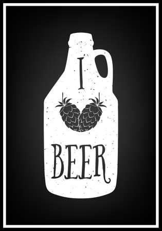 i label: I love beer - Quote Typographical Background. Vintage craft beer brewery emblem, label, design element. Vector typography EPS8 illustration with grunge effect.