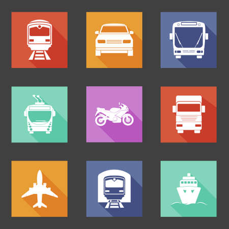 transport icons: Simple flat transport icons set with long shadows.