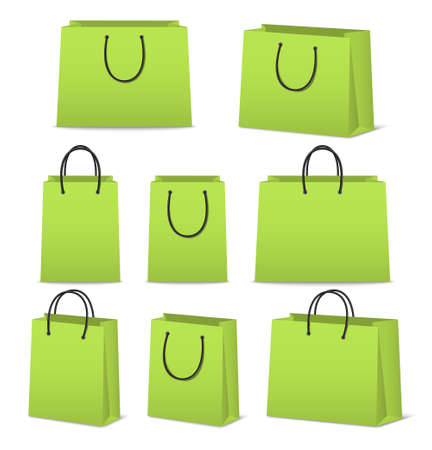 reusable: Blank paper shopping bags set isolated on white.