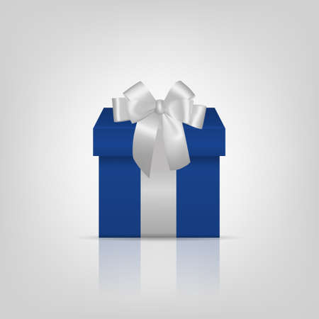 Blue square gift box with silver ribbon and bow Vector EPS10 illustration.