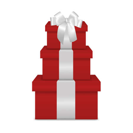 white bow: Stack of three realistic red gift boxes with white ribbon and bow isolated on white background. Vector EPS10 illustration. Illustration