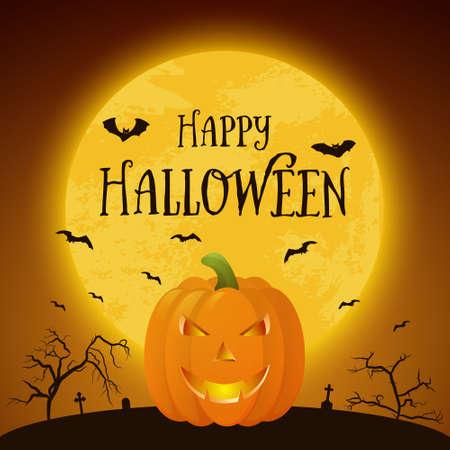 Happy Halloween banner with pumkin. Vector EPS10 background.