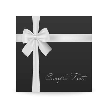 mo�o blanco: Tarjeta de felicitaci�n Negro con el arco blanco aislado en blanco. Ilustraci�n vectorial EPS10.