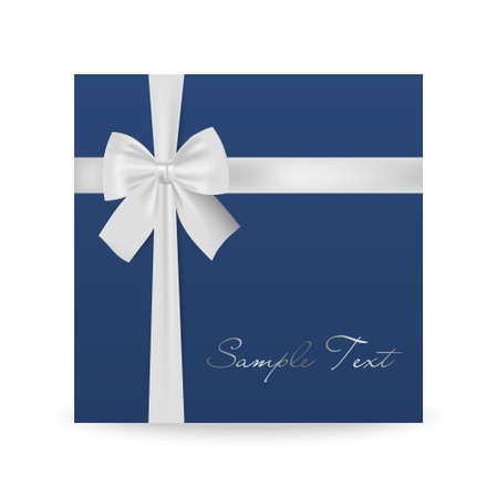 birthday presents: Blue greeting card with white bow isolated on white. Vector EPS10 illustration. Illustration