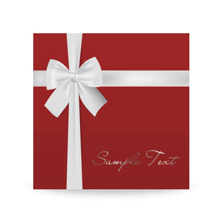 mo�o blanco: Red greeting card with white bow isolated on white. Vector EPS10 illustration.