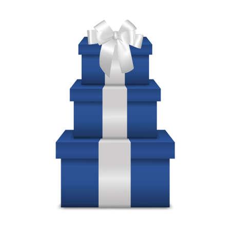ruban blanc: Empilement de trois bo�tes de cadeau bleu r�alistes avec ruban blanc et l'arc isol� sur fond blanc. Vecteur EPS10 illustration.