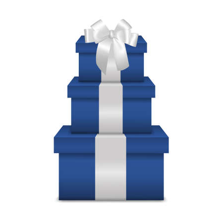 holiday gifts: Stack of three realistic blue gift boxes with white ribbon and bow isolated on white background. Vector EPS10 illustration. Illustration