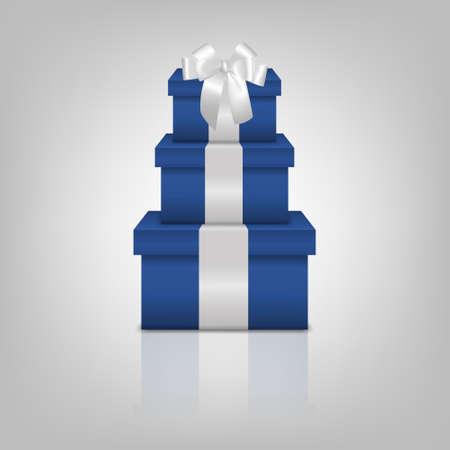 ruban blanc: Empilement de trois bo�tes de cadeau bleu r�alistes avec ruban blanc et archet sur fond gris avec la r�flexion. Vecteur EPS10 illustration.