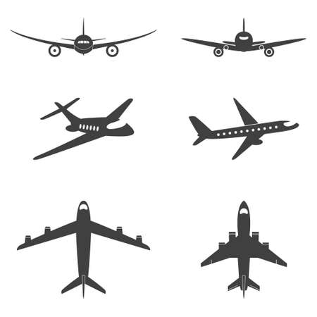 airplane landing: Vector isolated plane icons set. Vector EPS8 illustration.