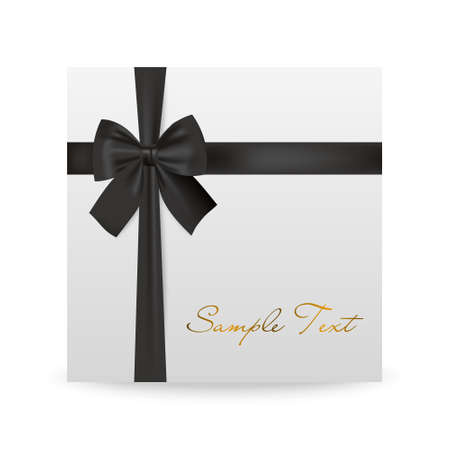white greeting: White greeting card with black bow isolated on white. Vector EPS10 illustration.