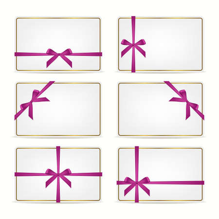 pink ribbons: Set of realistic white gift cards with pink ribbons and gold frame. Vector EPS10 illustration.