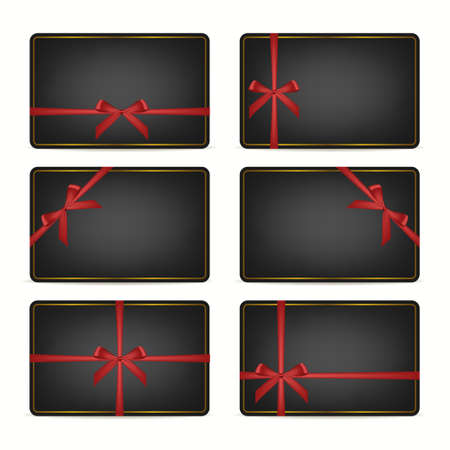 golden frame: Set of realistic black gift cards with red ribbons and golden frame. Vector EPS10 illustration.