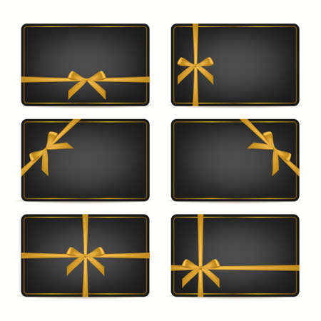 golden frame: Set of realistic black gift cards with gold ribbons and golden frame. Vector EPS10 illustration.