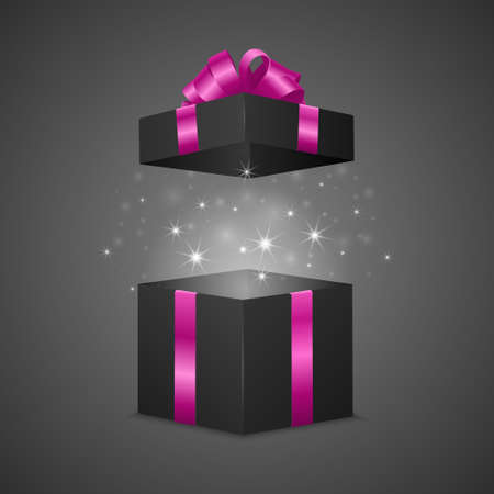 Black gift box with a magic effect. Vector EPS10 illustration. Stock Illustratie
