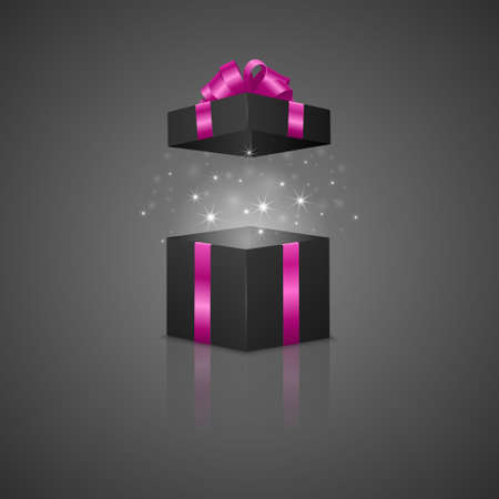 Black gift box with a magic effect and reflection. Vector EPS10 illustration. Illustration