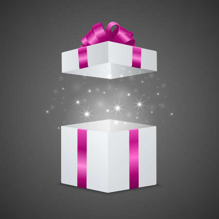 fireworks white background: White gift box with a magic effect. Vector EPS10 illustration. Illustration