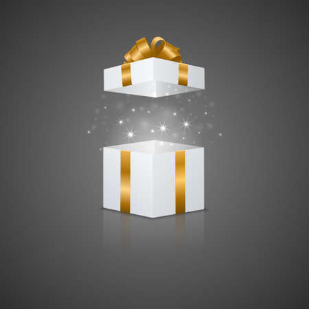 White gift box with a magic effect and reflection. Vector EPS10 illustration. Illustration