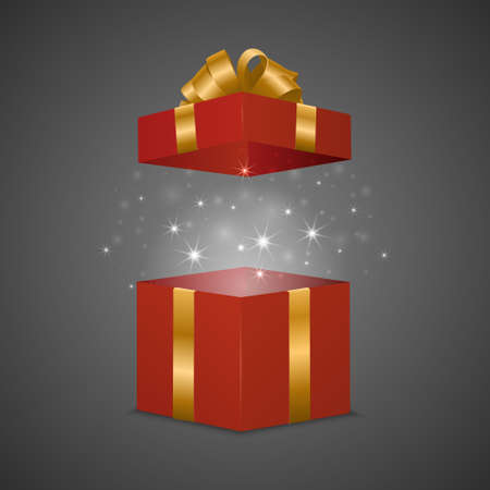 red gift box: Red gift box with a magic effect. Vector EPS10 illustration.