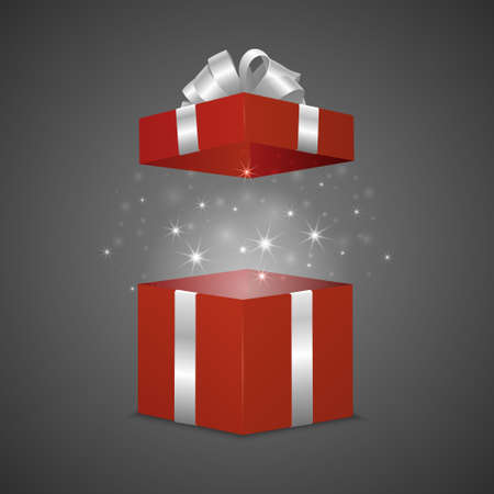 Red gift box with a magic effect. Vector EPS10 illustration.