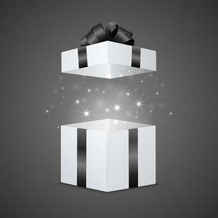 christmas present: White gift box with a magic effect. Vector EPS10 illustration. Illustration
