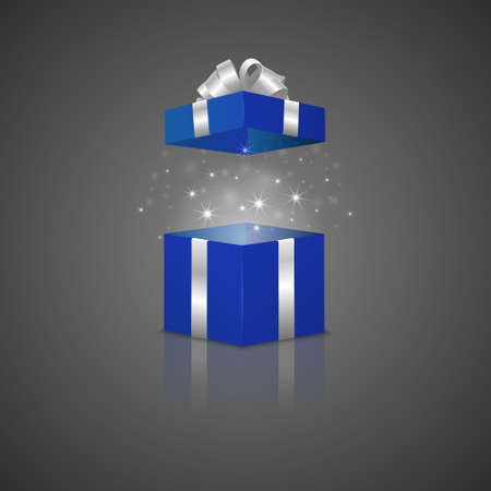 blue gift box: Blue gift box with a magic effect and reflection. Vector EPS10 illustration.