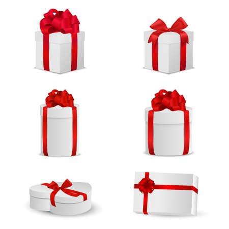 ribbons and bows: Set of white gift boxes with red bows and ribbons. Vector EPS10 illustration. Illustration