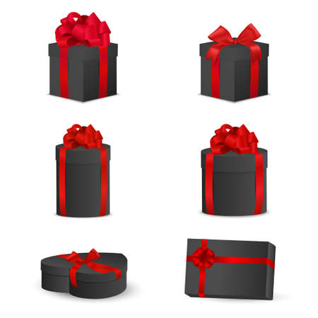 Set of black gift boxes with red bows and ribbons. Vector EPS10 illustration.