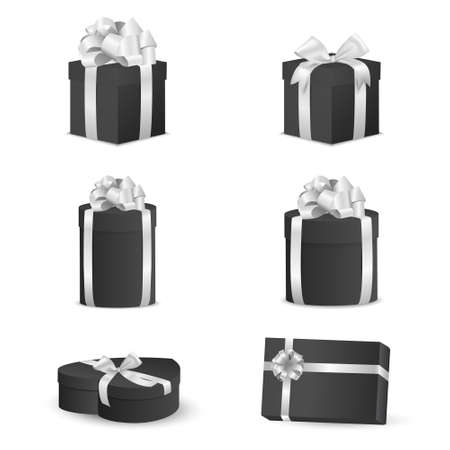 christmas perfume: Set of black gift boxes with white bows and ribbons.  Vector EPS10 illustration.