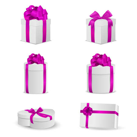 pink bow: Set of white gift boxes with pink bows and ribbons. Vector EPS10 illustration.