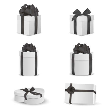christmas perfume: Set of white gift boxes with black bows and ribbons.  Vector EPS10 illustration.