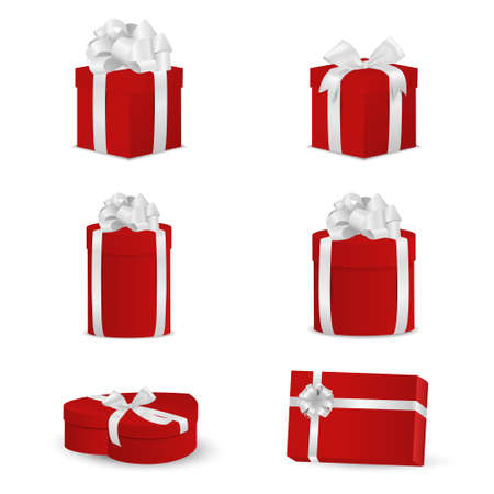 december background: Set of red gift boxes with white bows and ribbons. Vector EPS10 illustration.