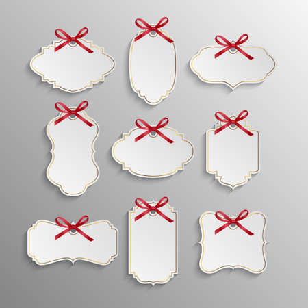 Set of elegant realistic white paper tags with red bows and golden elements. Vector EPS10 illustration. Stock Illustratie